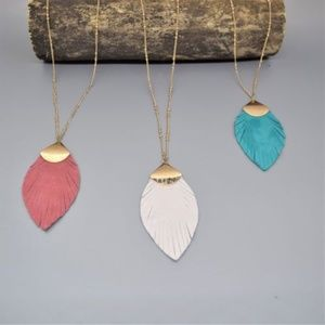 Fringe Leather Leaf Pendant Necklace